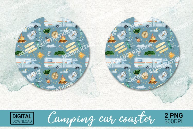 Car coaster design. Keychain sublimation. Camping png