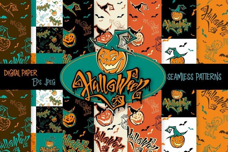 Halloween digital paper seamless patterns.