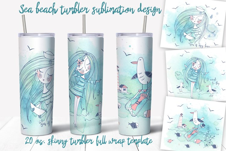 Sea beach with cute girls tumbler sublimation design Png.