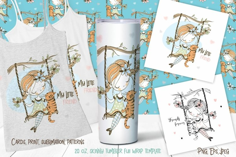 Cute girl with a cat on a swing digital clipart. Sublimation