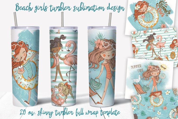 Beach girls tumbler sublimation design 20 oz skinny example image 1