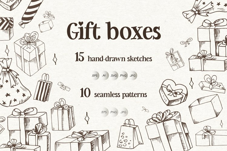 Gift boxes. Sketches and patterns