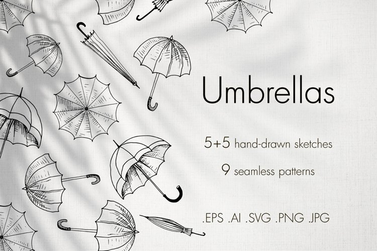 Umbrellas. Sketches and patterns