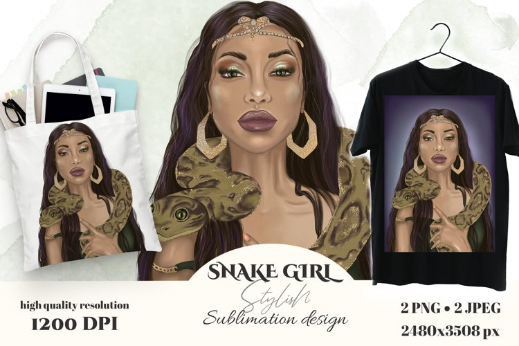 Girl with snake sublimation T-shirt design, wall art.