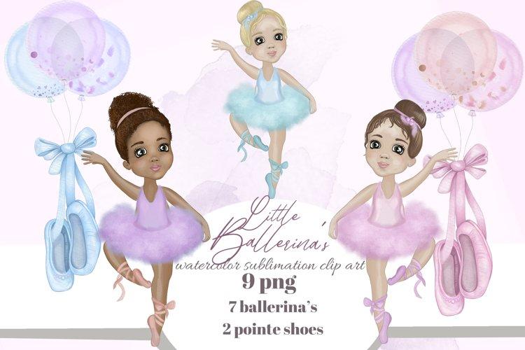 Cute Ballerinas sublimation clip art. Watercolor ballet set