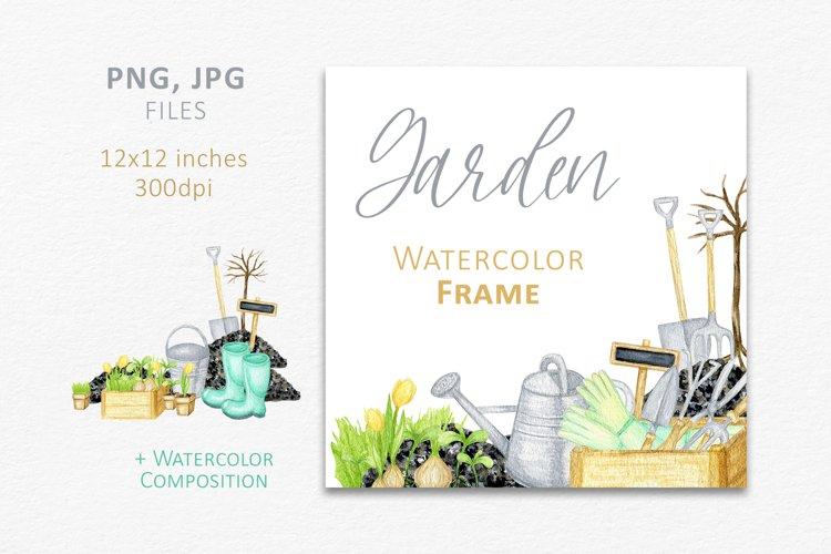 Watercolor garden tools wreath logo design, gardening png