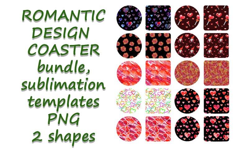 Romantic Coaster Sublimation Template Bundle, Key Chain, example image 1