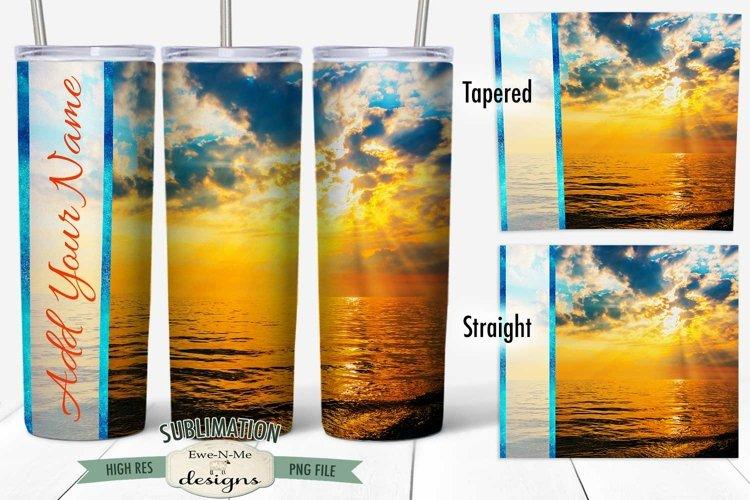20 oz Skinny Tumbler Sublimation   Ocean Sunrise   Beach