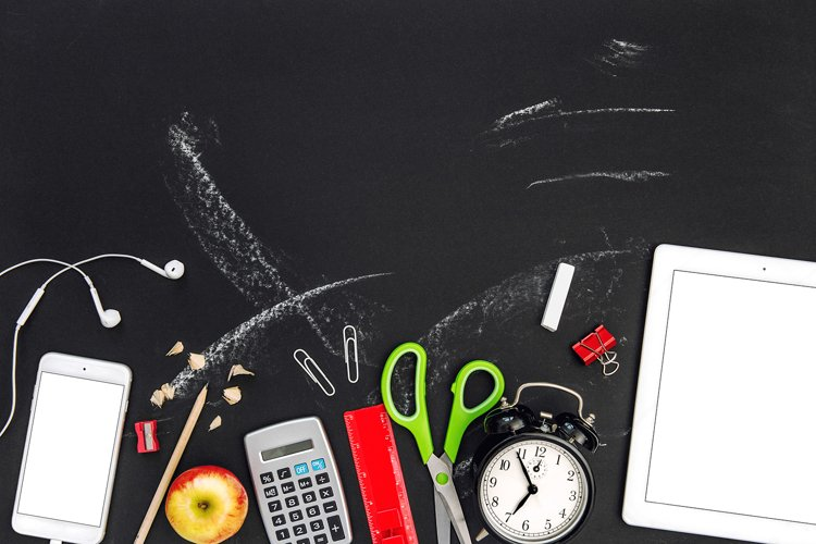 Back to school Office supplies flat lay mockup