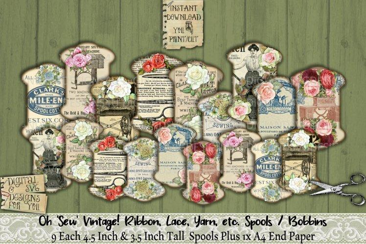 Sew Vintage   Ribbon   Lace   Spool   Bobbin   RS03   Print