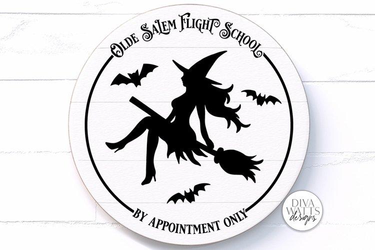 Olde Salem Flight School SVG | Halloween Round Sign example image 1