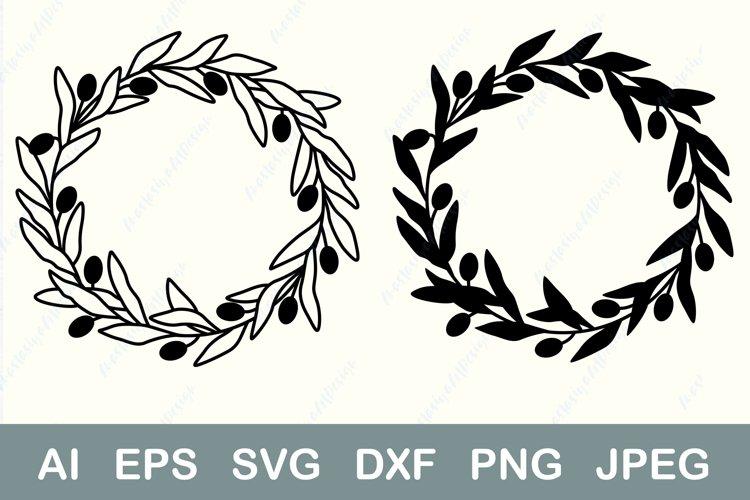 Olives wreath svg, Circle floral frame svg, Border cut file