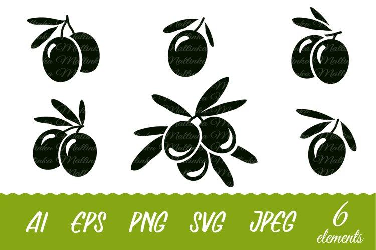 Olives Svg. Svg. Olive branches Svg. Silhouettes