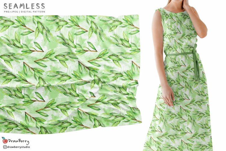 Green Leaves Seamless Pattern SP127 example image 1