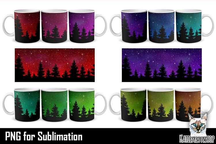 Mug Sublimation Bundle, Night Skyline and trees