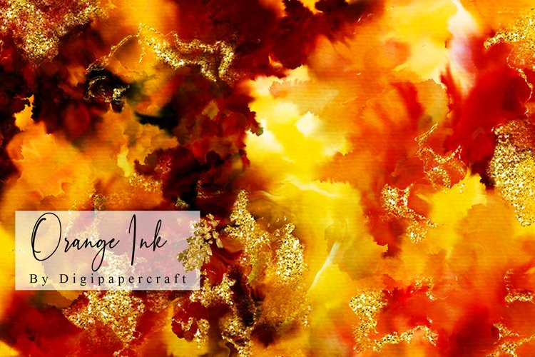 Orange Ink Marble, liquid ink marbling, Digital ink marble