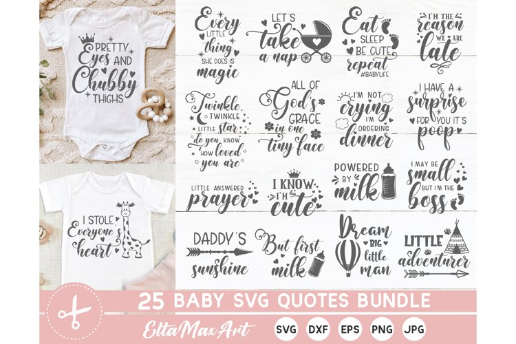 Baby SVG Bundle, Cute Baby Sayings SVG, Baby Quote Bundle example image 1