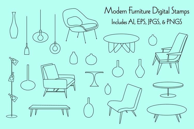 Modern Furniture Digital Stamps