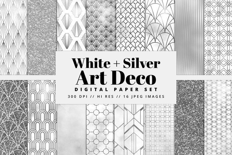 White and Silver Art Deco Digital Paper Set