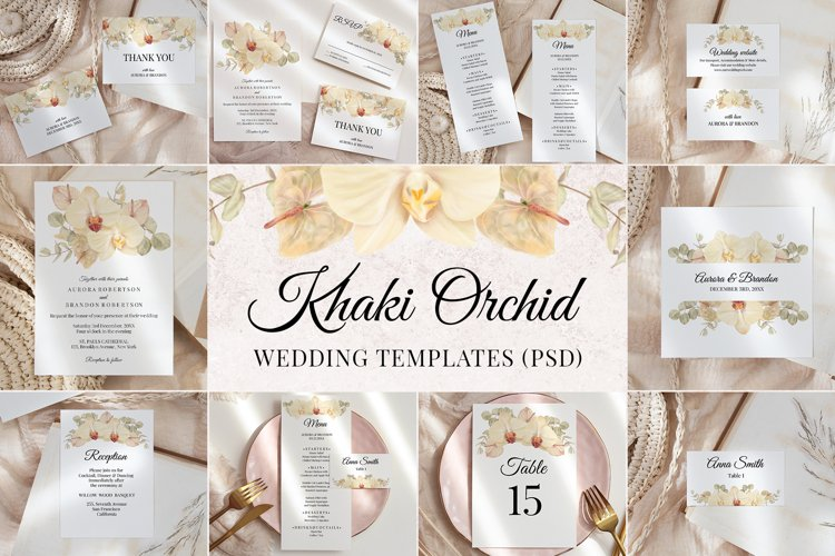 Boho Wedding Template Cards Floral Invitation Set