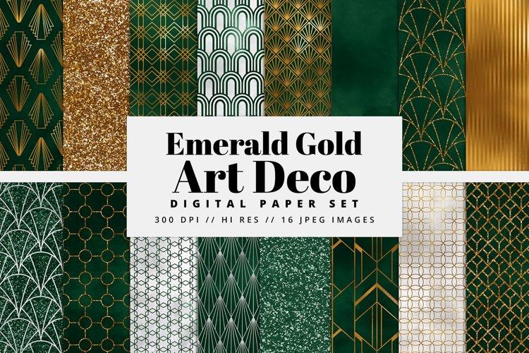 Emerald and Gold Art Deco Digital Paper Set