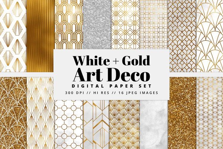 White and Gold Art Deco Digital Paper Set