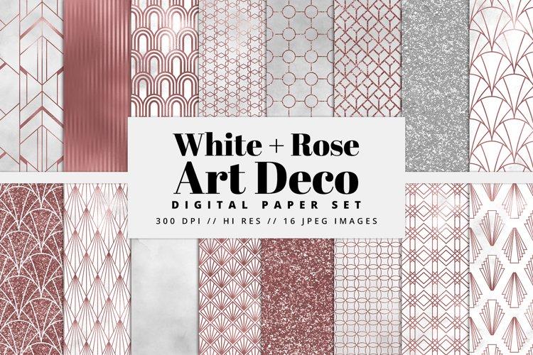 White and Rose Gold Art Deco Digital Paper Set