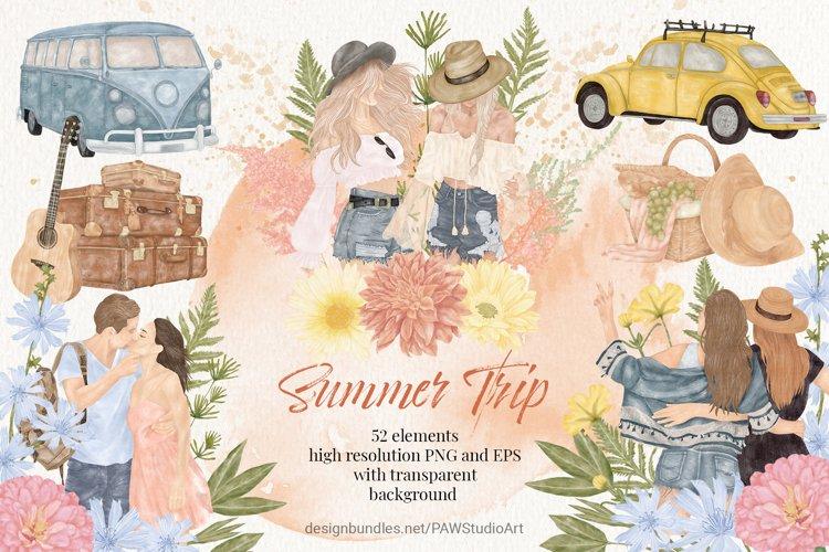 Summer Boho Travel Girl Couple Car Clipart Wild Flower Leave