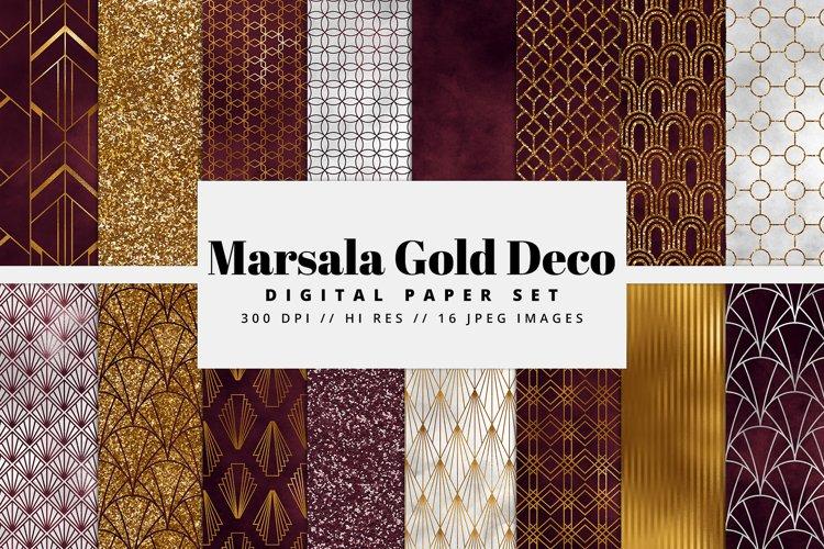 Marsala and Gold Art Deco Digital Paper Set