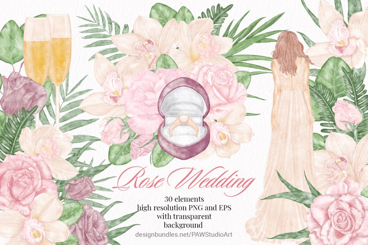 Wedding Flowers Bride Rose Orchid Leaves Clipart