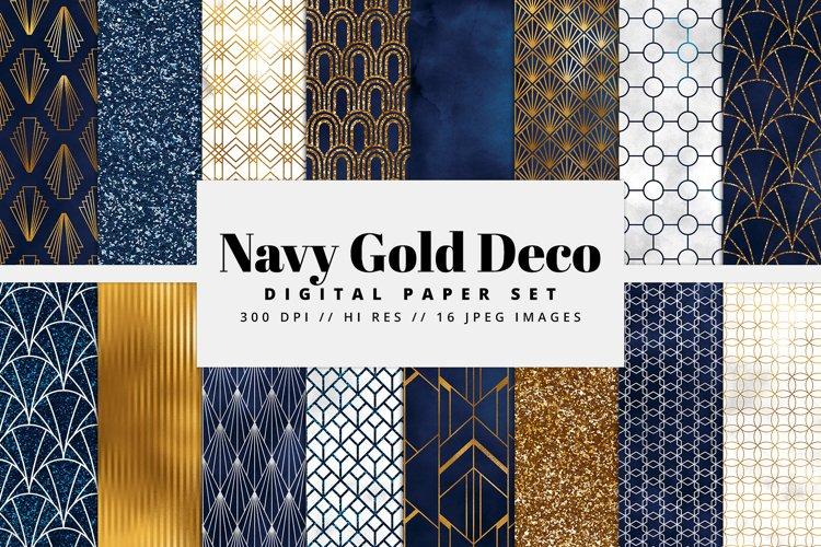 Navy and Gold Art Deco Digital Paper Set