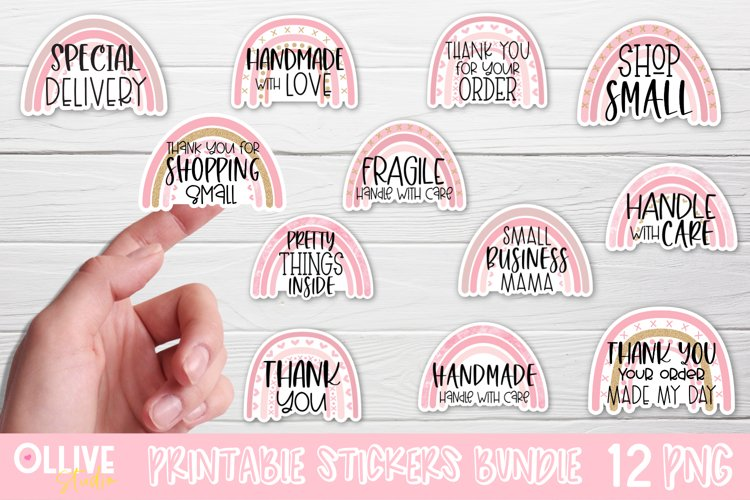 Packaging and Small Business Rainbow Sticker Bundle PNG example image 1