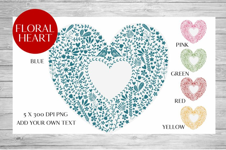 Scandinavian Style Floral Heart Wedding, Anniversary PNG example image 1