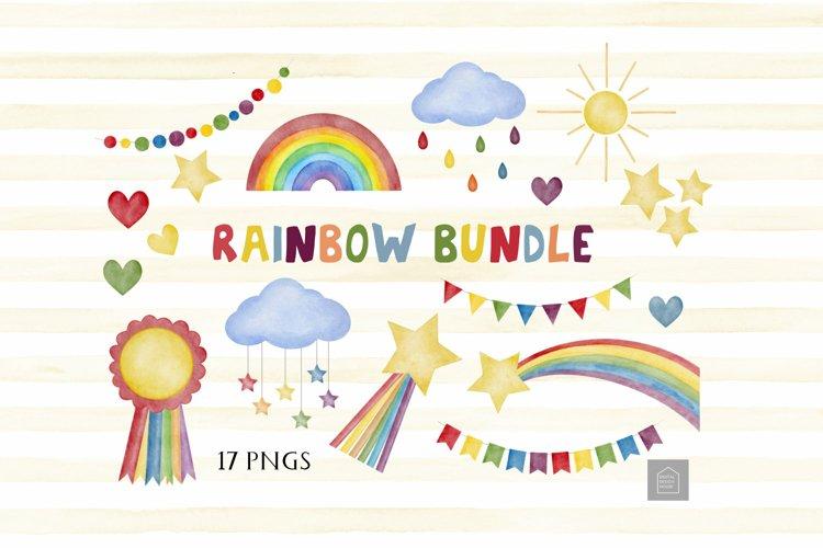 Rainbow Illustrations Clipart Set Bundle - 17 PN