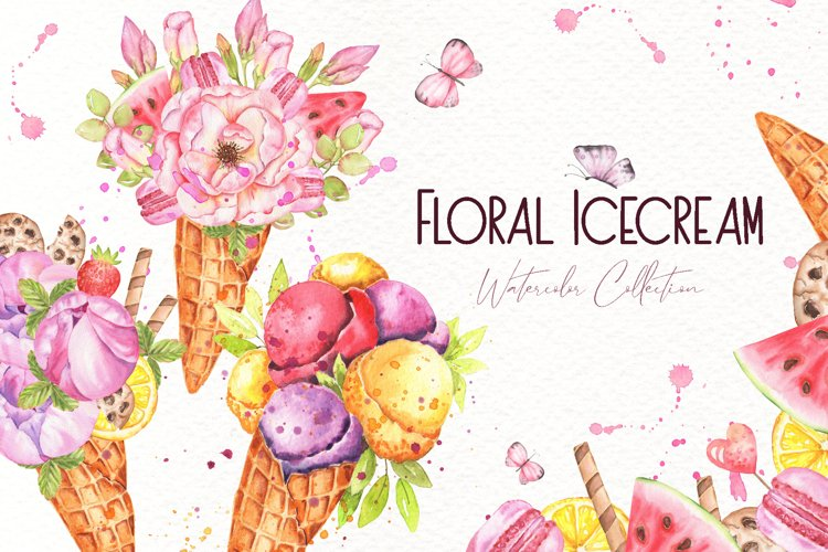 Floral Icecream Watercolor Set