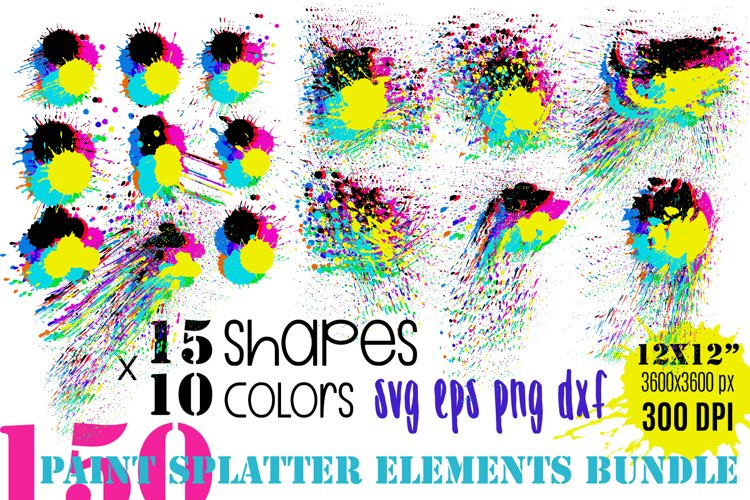 Paint Splatter Vector Bundle   PNG SVG EPS DXF Paint Splash