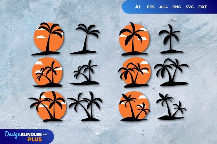 Palm Tree Illustrations Set SVG