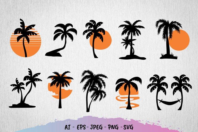 Palm Tree Sunset Set SVG File