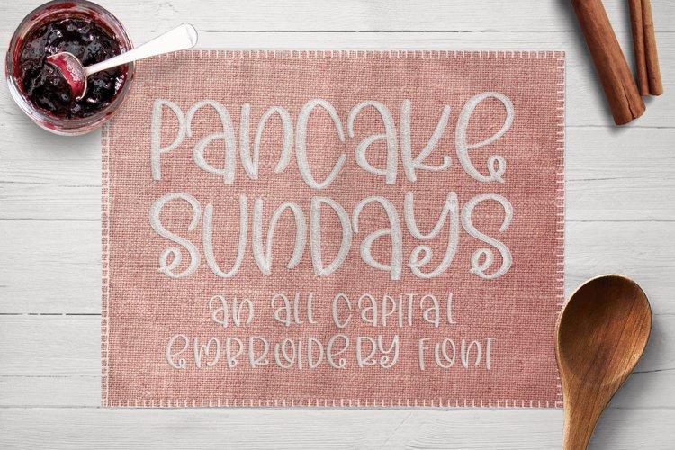 Pancake Sundays - Embroidery Font example image 1