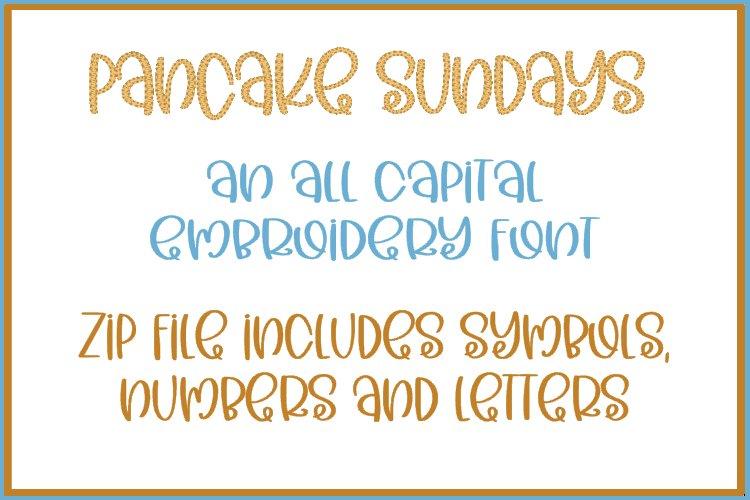 Pancake Sundays - Embroidery Font example
