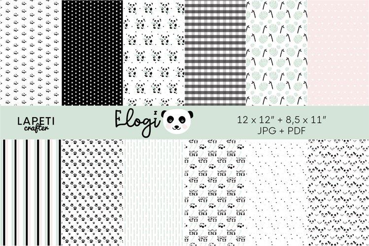 Panda bear digital papers   Printable paper for scrapbooking