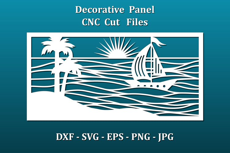 Wall panel CNC cut files. Sea waves, palm beach, sail boat.