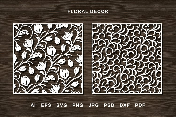 Laser cut Flower Panel SVG for Crafters. Tulips, curles