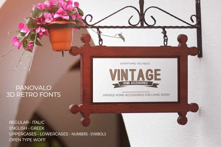Panovalo 3D Retro Font | Open Type & Woff example image 1