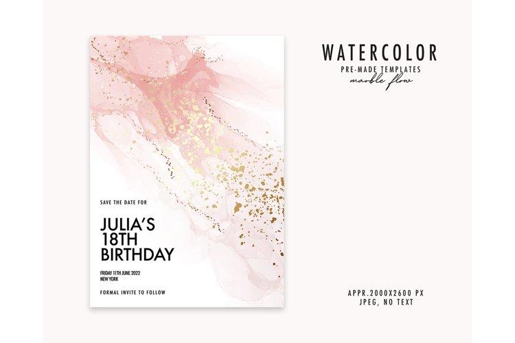 Pink watercolor background gold texture pastel paint blush