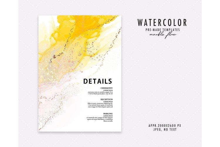 Yellow alcohol ink wedding invitation card watercolor textur