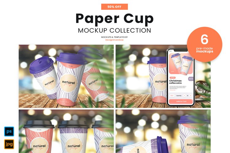 Mockup Bundle of Six Paper Coffee Cup Mockups on Wooden shop table for branding, package design, and logo mockups.