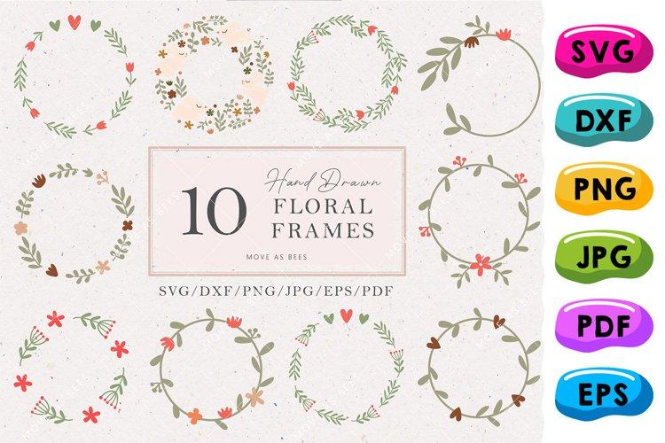 Circle Floral Frames Svg Bundle, Round Monogram Frames Svg example image 1
