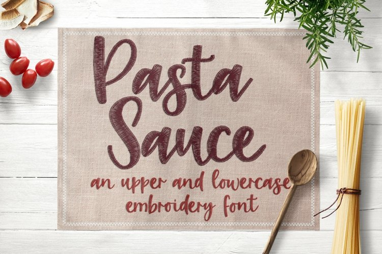 Pasta Sauce - Embroidery Font example image 1