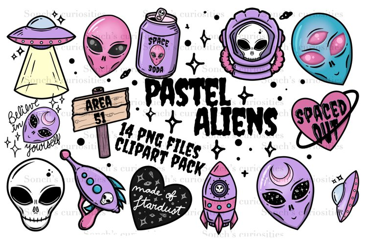 Pastel Aliens / UFO - 14 goth PNG files